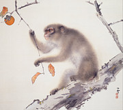 Persimmon Paintings - Monkey by Pg Reproductions