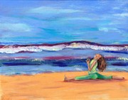 Woman Doing Yoga Paintings - Monkey Sea by Valerie Twomey