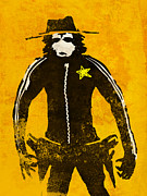 Cowboy  Drawings Metal Prints - Monkey Sheriff Metal Print by Pixel Chimp