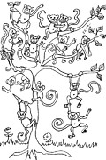 Monkeys Drawings - Monkey Tree by Cherie Sexsmith