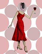 Red Dress Posters - Monkey with a Glass of Wine Poster by Kelly McLaughlan
