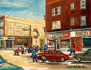 Store Fronts Painting Prints - Monkland Street Hockey Game Montreal Urban Scene Print by Carole Spandau