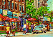 Outdoor Cafes Posters - Monkland Taverne Monkland Village Paintings Of Montreal City Scenes Notre Dame De Grace Cafe Scenes Poster by Carole Spandau