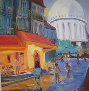 Evening Scenes Paintings - Monmartre by Julie Todd-Cundiff