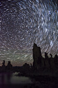 Stars Photo Posters - Mono Lake Star Trails Poster by Cat Connor
