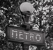 Metro Art Photo Framed Prints - Mono Metro - Paris Art Framed Print by Georgia Fowler