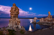Jamie Pham Metal Prints - Mono Moonrise - Strange Tufa Towers of Mono Lake in California. Metal Print by Jamie Pham