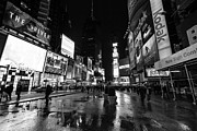Nyc Taxi Framed Prints - Mono TImes Square  Framed Print by John Farnan