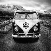 Scottish Highlands Prints - Mono VW Camper Scotland  Print by John Farnan