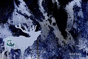 Deer Silhouette Digital Art - Monochromatic Blue Moose by Sharon K Shubert