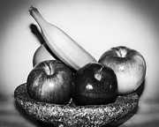 Fruit Arrangement Prints - Monochromatic Friut Print by Camille Lopez