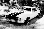 Beach Hop Framed Prints - Monochrome Camaro Framed Print by motography aka Phil Clark