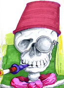 Spooky  Drawings - Monocle and Fez by Olaf Del Gaizo