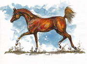 Bay Horse Drawings - Monogramm 1 by Angel  Tarantella