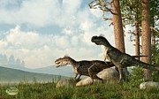 Paleoart Prints - Monolophosaurs on the Hunt Print by Daniel Eskridge