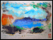 Colored Pencils Painting Originals - Monoprint. Liquid Oil Test Print No. 3 by Cathy Peterson