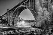 White Arched Bridge Prints - Monroe St. Bridge and Falls Print by Derek Haller
