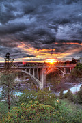 Spokane Framed Prints - Monroe St Bridge Sunset Framed Print by Dan Quam