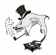 Phonograph Drawings - Monsieur Shark by Mike  James
