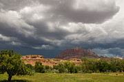 Geobob Metal Prints - Monsoon Clouds Over Zion and Mt Kinesava Rockville Utah Metal Print by Robert Ford