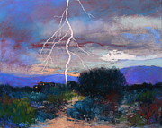Storms Pastels Framed Prints - Monsoon Lightning Framed Print by M Diane Bonaparte