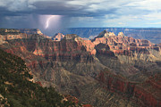 North Rim Framed Prints - Monsoon Sunset Framed Print by Mike Buchheit