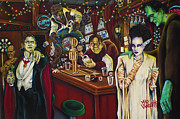 Dogs Playing Poker Prints - Monster Bar by Mike Vanderhoof Print by Michael Vanderhoof