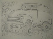 Chevrolet Truck Drawings - Monster in the Garden by James Eye