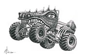 Reptiles Drawings Prints - Monster Truck Print by Murphy Elliott