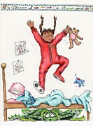 Pajamas Drawings Prints - Monster Under The Bed Print by Kelly Walston