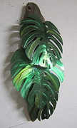 Leaves Sculpture Prints - Monstera leaves on driftwood Metal sculpture Print by Robert Blackwell