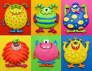 Yellow  Sculpture Posters - Monsters Poster by Amy Vangsgard