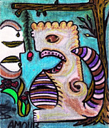Lois Picasso Metal Prints - Monsters Love Life Too Metal Print by Lois Picasso