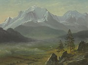 Mountain Snow Landscape Paintings - Mont Blanc by Albert Bierstadt