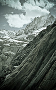 Black And White Landscape Photograph Posters - Mont Blanc Glacier Poster by Frank Tschakert