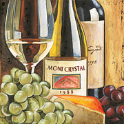 Red Wine Bottle Painting Posters - Mont Crystal 1988 Poster by Debbie DeWitt