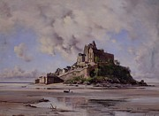 Low Tide Paintings - Mont Saint Michel by Emmanuel Lansyer