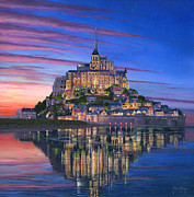 Oil. . Realism. Paintings - Mont Saint-Michel Soir by Richard Harpum