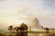 Vehicle Painting Prints - Mont St Michel Print by Edward William Cooke