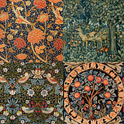 Tapestries Textiles Prints - Montage of Morris Designs Print by William Morris