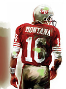 Quarterback Drawings - Montana  Joe Montana by Iconic Images Art Gallery David Pucciarelli