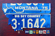 Montana State Map Metal Prints - Montana License Plate Map Metal Print by Design Turnpike