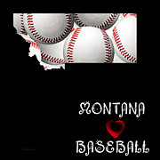 Montana State Map Posters - Montana Loves Baseball Poster by Andee Photography