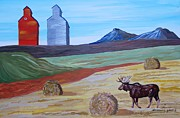 Bales Paintings - Montana Moose by Mike Nahorniak