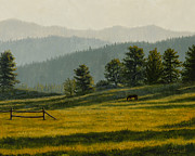 Ranch Prints - Montana Morning Print by Crista Forest