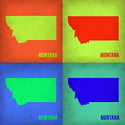 Montana Digital Art Framed Prints - Montana Pop Art Map 1 Framed Print by Irina  March