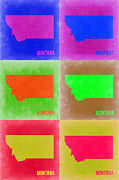 Montana Digital Art Framed Prints - Montana Pop Art Map 2 Framed Print by Irina  March