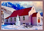 Snow Drifts Prints - Montana Reservation Church Print by Ronald Chambers
