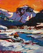 Yellowstone Paintings - Montana Snow  Plein Air by Mike Savlen