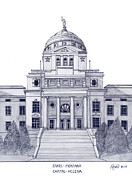 Montana Mixed Media - Montana State Capitol by Frederic Kohli